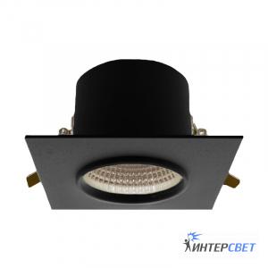 Встраиваемый светильник черный D03 квадрат