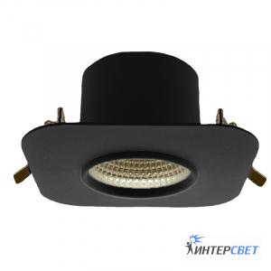 Встраиваемый светильник черный D03 мягкий квадрат